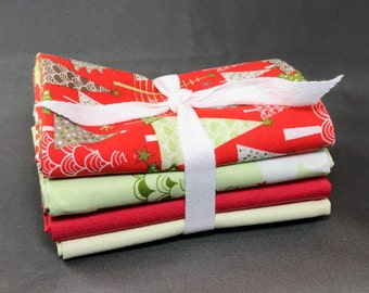 """A Merry Little Christmas Fat Quarter Bundle by Zoe Pearn for Riley Blake ~ 4 Red and Green Holiday 18""""x22"""" PreCut Cotton Quilt Pieces"""