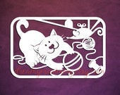 Cat Papercut, Playful Kitten Papercutting Template, Children Papercut, Commercial Use, Personal Use, Cat and skein,