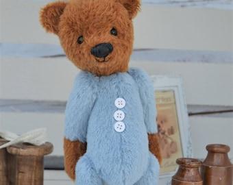 "Baby Bear in blue pyjamas and slippers - mohair artist bear ""bo, bo bear"""