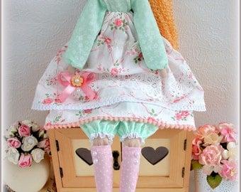 Tilda Doll Mint and Rose -fabric doll-Cloth doll rag doll-stuffed doll-подарок для женщины девочки- soft doll- тильда handmade doll