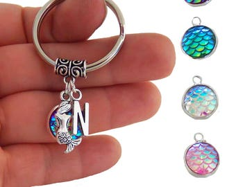 Customized mermaid scale keychain with initial, initial mermaid scale key chain, monogram mermaid key ring, personalized mermaid keyring