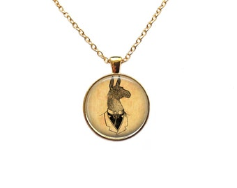 Gentleman Llama pendant Antique jewelry Animal necklace