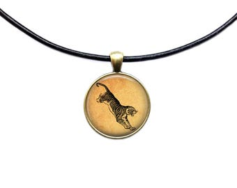 Jumping tiger pendant Big cat necklace Animal jewelry