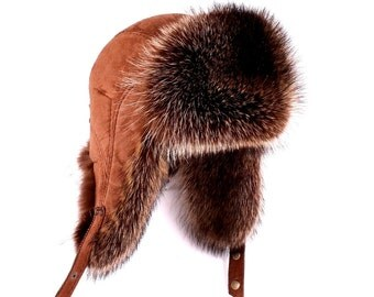 Men's hat earflaps fur raccoon