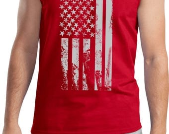 Men's Distressed Stars and Stripes Flag Tank Top DISFLAG-2200