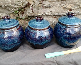 Kitchen Canister Set of Three, Blue, Ceramic, Ready to Ship