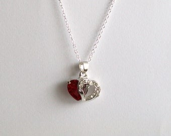 Love Heart Necklace ~ Heart Necklace ~ Red Heart ~ Romantic Jewellery ~ Love Necklace ~ Gift Bag ~ For Her