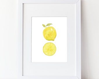 Lemon Art Print - Watercolor Lemon With Caption Art Print - Simple Watercolor Art - Various Sizes - Lemon Slice
