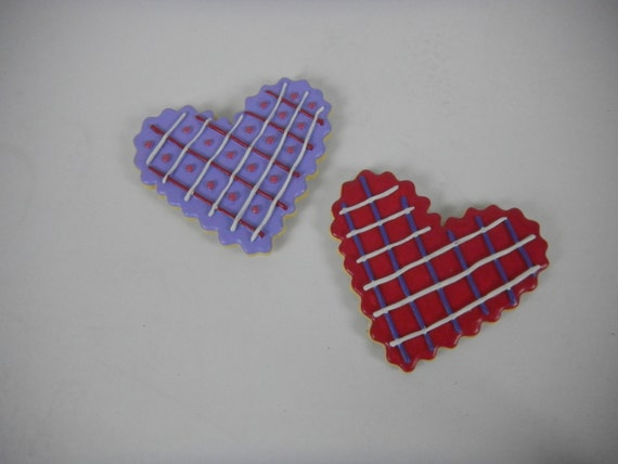 Heart Cookie Magnets:  Set of two + one free extra