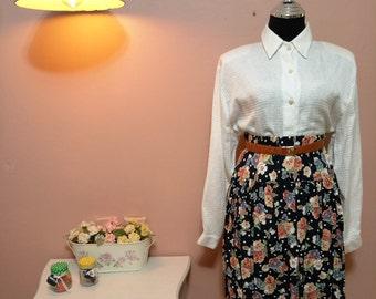 Womens Skirts,Flowers Skirt, Vintage 1970s, Skirt, Skirts,Vintage skirt,women skirts, Womens skirt, Women skirt, Print Cotton Skirt Size S-M