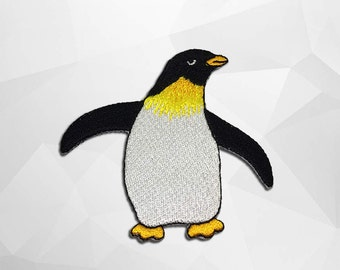 Penguin Iron on Patch(L1) - Penguin Applique Embroidered Iron on Patch - Size 7.6x7.1cm
