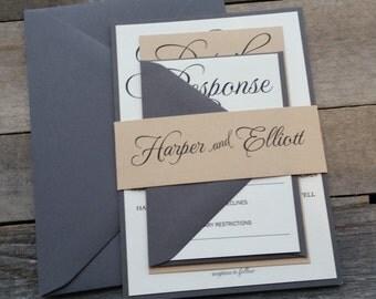 Rustic Wedding Invitations, Modern Wedding Invitation, Script Invitations, Rustic Invitation, Gray, Tan, Ivory, s020 Harper