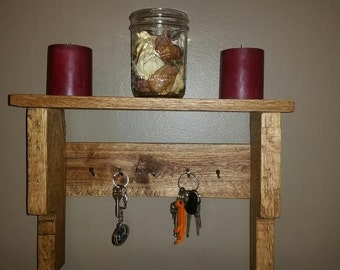 Rustic Wood Pallet Key Hanger Shelf, Dog leash hanger