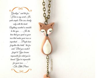 Fox Necklace, Fox Pendant Necklace, Fox, Fox Lover Gift, Fox Jewelry, Polymer Clay