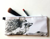 Intellectual Hedgehog Pencil Case, Hedgehog Cosmetic Pouch, Animal Pencil Pouch