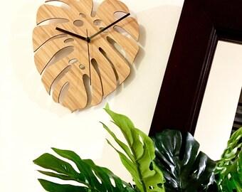 Monstera Bamboo Wall Clock