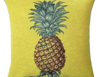 Pineapple Pillow Cover - Pineapple Cushion - Pineapple Decor - Tropical Decorative Pillow - 18x18 cushion - Yellow Pillow  - PC-5640