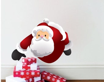 Santa Wall Decal Christmas Decals for Walls and Windows, Santa Clause Decal, Holiday Window Decal, Removable Christmas Decal, Santa Art, h78