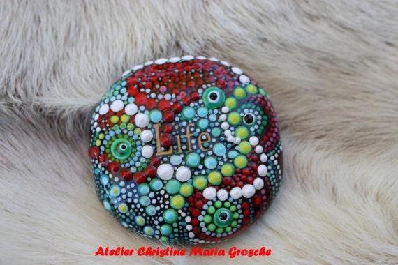 Steinkind Maya- Living Stones -  Atelier Der Sternwanderer   - Zertifikat - Geburt Glück Schutz Kraft Steine bemalter lebender Stein
