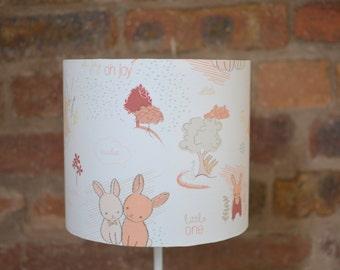 Pink lampshade, rabbit lamp shade, woodland animals, nursery lampshade, lampshade, table lamp, ceiling shade, kids lampshade, nursery decor