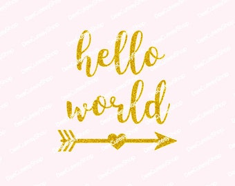Hello World Iron On, Non-Shed Glitter, Arrow, Gold, Glitter, Hello World, DIY, Baby Girl, Newborn, Heat Transfer, NOT DIGITAL, Iron On Decal