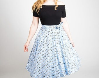 Womens 1950s, Panda full circle skirt, 50s novelty skirt, pandas,  retro skirt, rockabilly skirt, blue cotton skirt, made to order