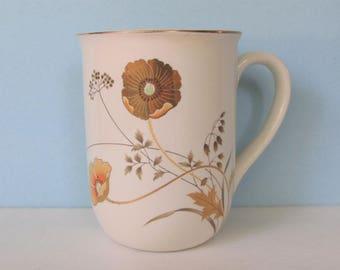 "Vintage Otagiri Golden Poppy Coffee Mug, Cup/ Gold poppies on ivory porcelain mug, Made in Japan.  3"" W X 4"" H"