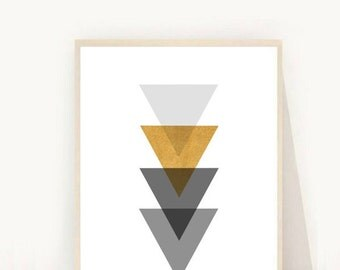 Triangle Print, Grey And Gold Geometric Art, Printable Wall Art, Triangles Print, Instant Download, Modern Wall Art, Scandinavian print