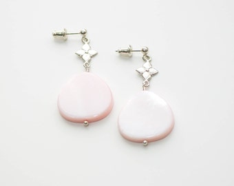Pearl earring, pink pearl earrings, sterling silver dangle earring, pink mother of pearl earring, stud earring, semi precious gemstone