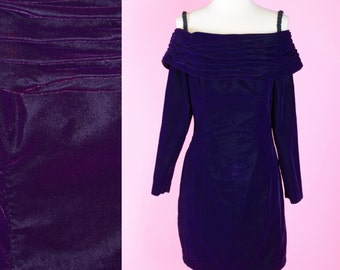 Purple Velvet, 80s, 90s, Prom Dress // 1980s, 1990s, Vintage, Cocktail Party, Off The Shoulder, Women Size Small