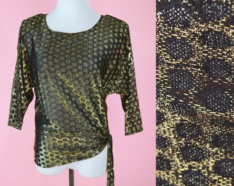 Vintage, 70s, 80s, Black Gold, Sheer Blouse, 1980s, Party Top, Womans Shirt, Size Medium, Large