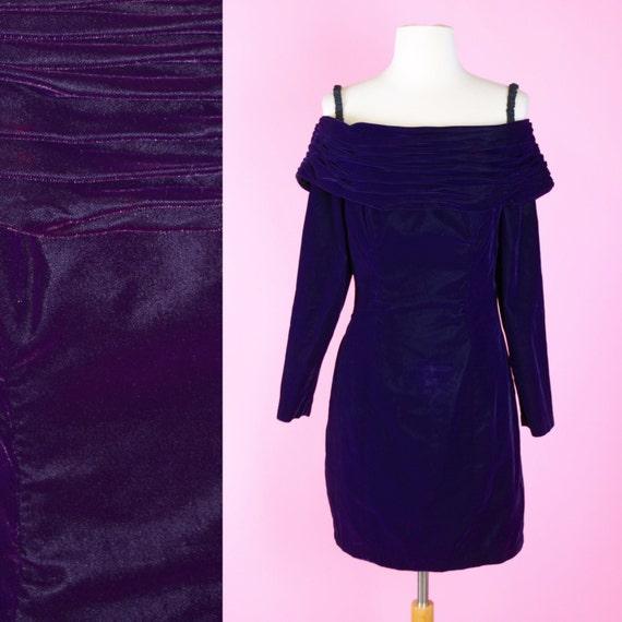 Purple Velvet, 80s, 90s, Prom Dress // 1980s, 1990s, Vintage, Cocktail Party, Off The Shoulder, Women Size Small
