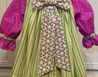 18-24 mos baby girl Peasant Dress, lime green, purple; striped, abstract and country print contrasts