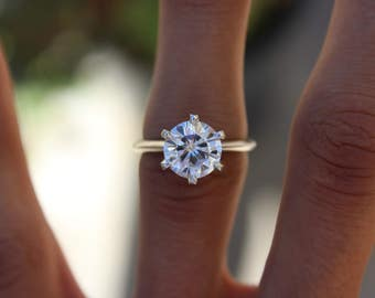 2.50 Carat Round Forever One Moissanite Six Prong Solitaire Engagement Ring in Platinum, Anniversary Rings for Women