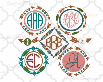 Arrow Monogram Frames Svg #2 cutting file, SVG EPS Png DXF, Cuttable Cricut Design Space, Silhouette Studio,Digital Cut Files