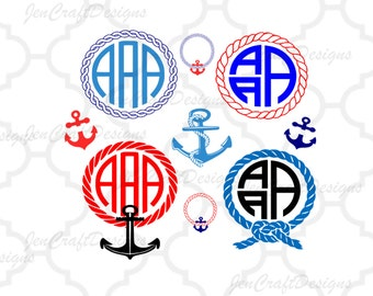 Nautical Rope Monogram Frames SVG Anchor SVG, Rope, Instant Download SVG, Dxf, Eps,Png, Ai Silhouette Studio and Cricut Design Space.