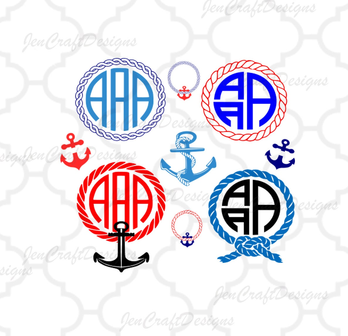 nautical rope monogram frames svg anchor svg rope instant download svg dxf epspng ai silhouette studio and cricut design space - Nautical Frames