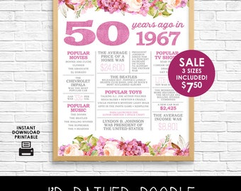 50th Birthday Sign - Back in 1967 - 50 Years Ago in 1967 - Printable Digital Sign - Instant Download - Boho Watercolor Flowers - Gift Sign