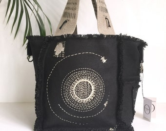 Black linen tote bag embroidered reversible sun by original Creation