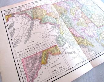 Maryland Map, Maryland, Maryland Wall Art, Vintage Map, Map, Map Art, Maryland Gifts, Map Gifts, Map Decor, Vintage Decor, Maryland Art