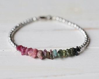 Ombre Tourmaline Chips Bracelet // Tourmaline Bracelet // Gemstone Chips Jewelry // Ombre Bracelet