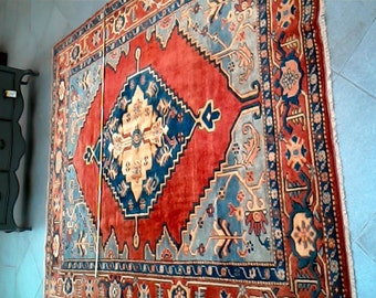 7.5 ft x 9.18 ft. Vintage Uzbek Kazak Rug,Red Nomadic Rug, Wool Rug 230cmx280 cm