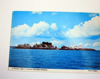 Guardian on the Rocky Shores 1980 / Vintage Lighthouse Postcard / New Brunswick Souvenir /1980 with  stamp