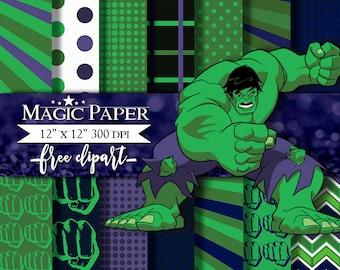 50% OFF SALE Hulk SuperHeroes SuperHeroe Digital Paper Clipart Clip Art