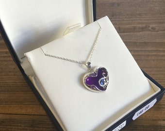 Heart Amethyst pendant with necklace, solid silver