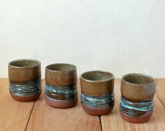 Tea Cups Set of 4, Textured Wheel Thrown Cups, Ceramic Espresso Cups, Speckled Terracotta Small Cups, Housewarming Gift
