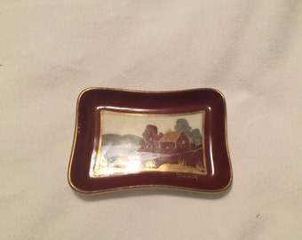 Vintage Brummely Decorative Small Dish / Hand Painted Ring Dish signed Brummell