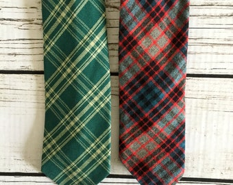 Pair of Red and Green Vintage Plaid Ties / 1960's-70's