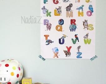 Englische Alphabet Poster Print Aquarell Tier Kindergarten Dekor Kinderzimmer