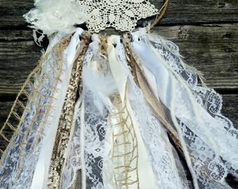 Boho shabby chic rustic romantic white ivory lace gold glitter ivory doily dream catcher 6 inch hoop OOAK nursery decor barn wedding